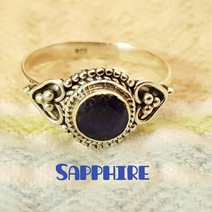 Sapphire Ring Sterling Silver
